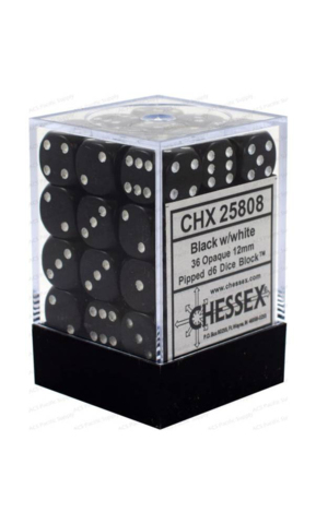 Opaque 12mm d6 with pips Dice Blocks (36 Dice) - Black w white