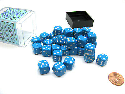 Opaque 12mm d6 with pips Dice Blocks (36 Dice) - Light Blue w white