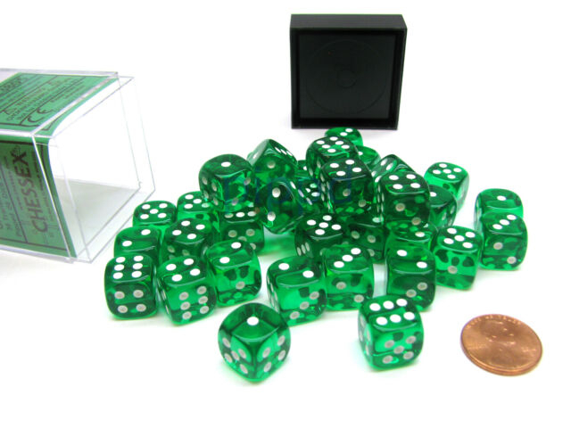 Translucent 12mm d6 with pips Dice Blocks (36 Dice) - Green w white