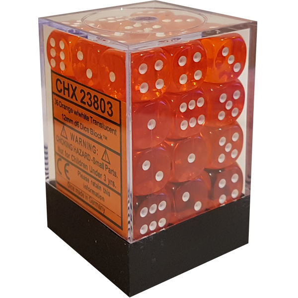 Translucent 12mm d6 with pips Dice Blocks (36 Dice) - Orange w white