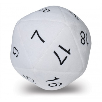 D20 Novelty Dice Plush in White with Black Numbering