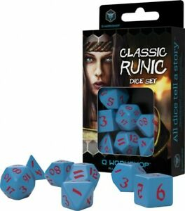 Classic Runic Blue  Red Dice Set (7 Dice)
