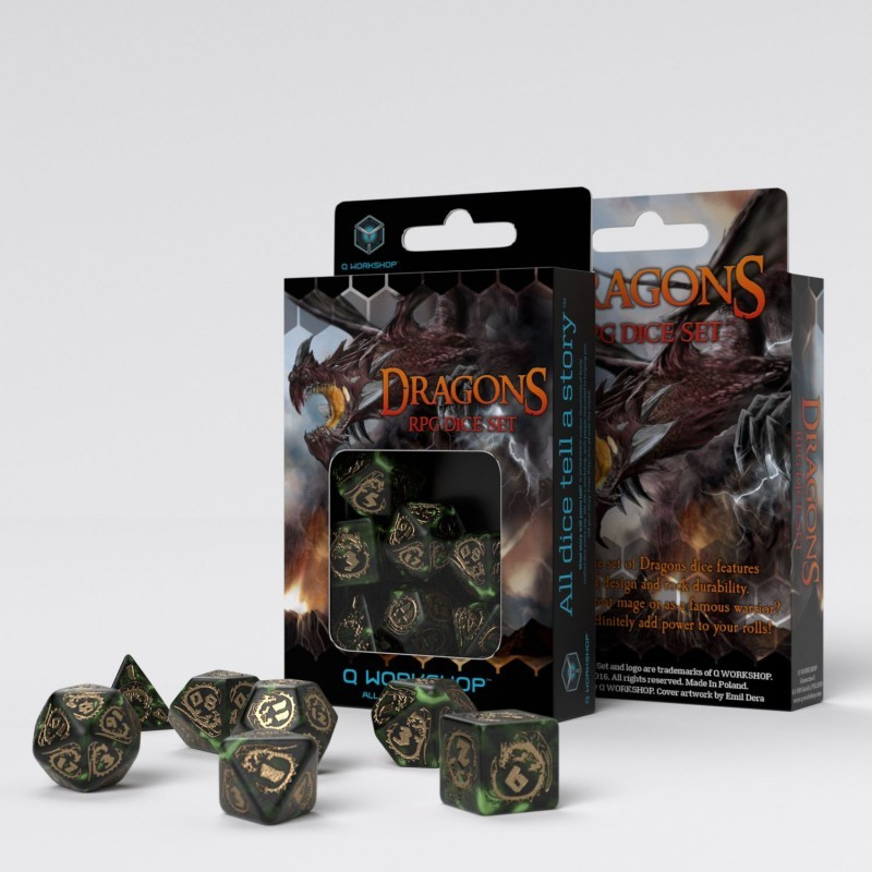 Dragons Bottle Green  Gold Dice Set (7 Dice)